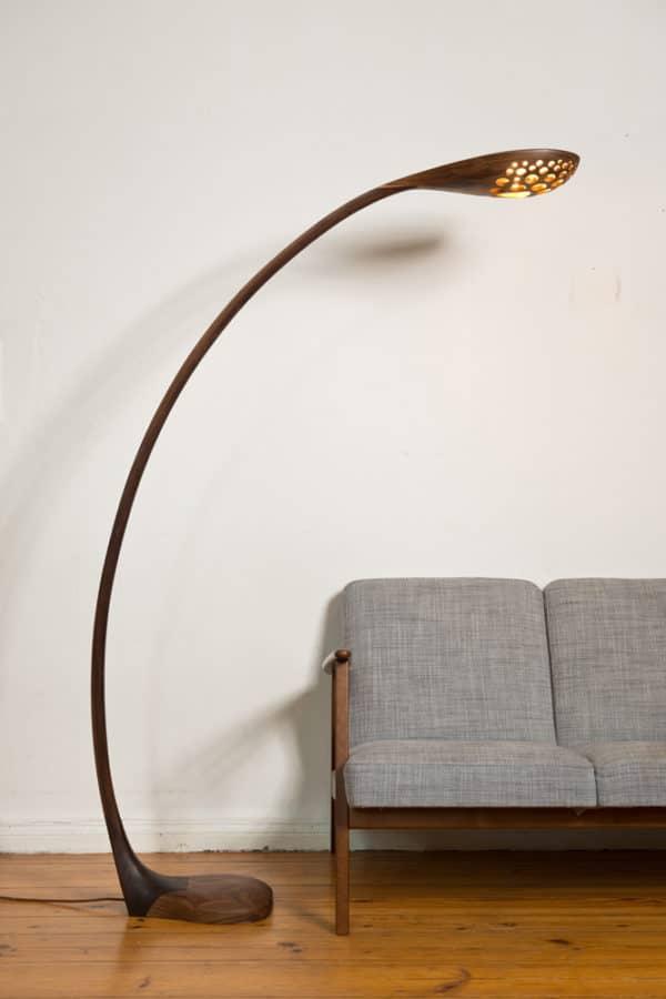 Bogenlampe aus Nuss Massivholz, Modellauswahl