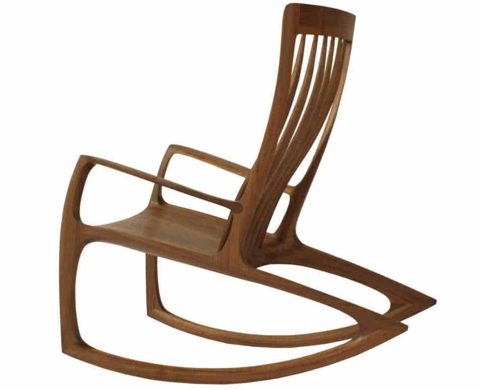 Schaukelstuhl Nummer 3 aus Nuss Massiv - Holz, Oberflaeche geoelt