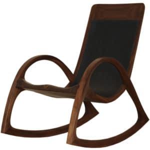 Schaukelstuhl aus Nuss Massiv - Holz, schwarzem Leder und schwarzer Naht