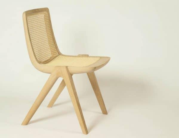 Holzstuhl mit Rattan für Küche, Esszimmer oder Wohnzimmer